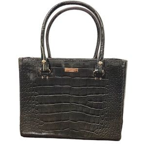 Kate Spade Quinn Charcoal Croc Embossed Tote Purse